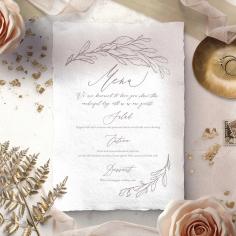 Royal Crest wedding reception table menu card stationery