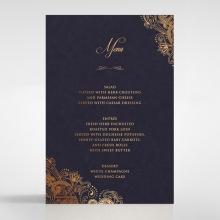 Royal Embrace reception table menu card stationery design