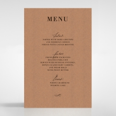 Rustic Love Notes wedding stationery menu card
