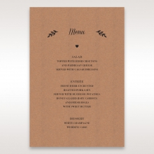 Rustic wedding reception table menu card stationery item