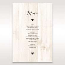 Rustic Woodlands wedding venue menu card stationery item