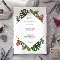 Tropical Island wedding reception menu card design