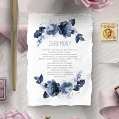 Blue Wonderland order of service wedding card