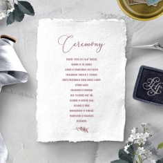 Bouquet of roses wedding order of service invitation card