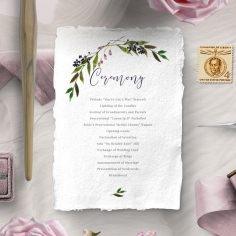 Country Charm order of service invitation card design
