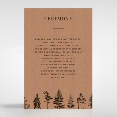 Delightful Forest Romance order of service invite card design