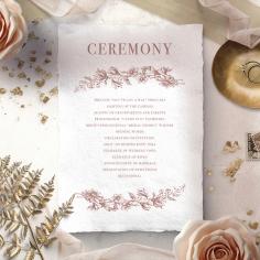 Fragrant Romance wedding order of service ceremony invite card design