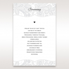 Luxurious Embossing with White Bow order of service ceremony stationery invite card
