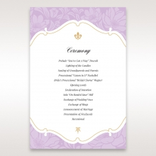 Majestic Gold Floral wedding order of service ceremony invite card