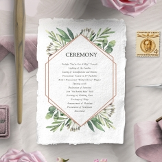 Modern Greenery order of service invite card