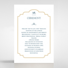 Noble Blue Gates wedding stationery order of service invite card