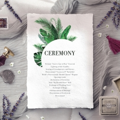 Palm Leaves order of service stationery