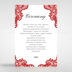 Red Lace Drop order of service wedding card design