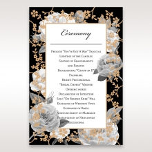 Rose Gold Flowers wedding order of service ceremony invite card