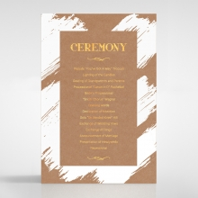 Rustic Brush Stroke  with Foil wedding stationery order of service invite card design