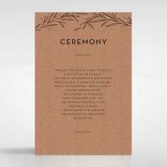 Rustic Oriental order of service invitation card design