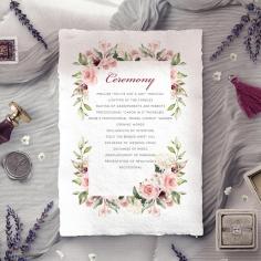 Vines of Love order of service ceremony card design