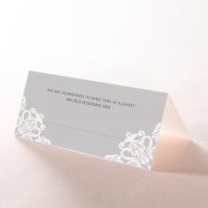 Black Divine Damask wedding reception place card design