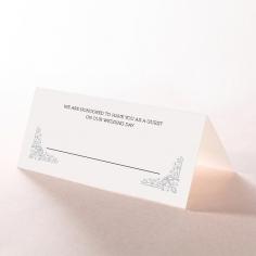 Black on Black Victorian Luxe wedding venue place card design