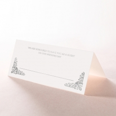Black on Black Victorian Luxe with foil wedding reception place card design