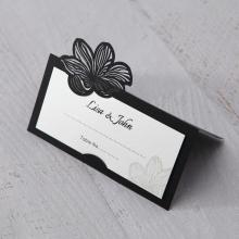 Floral Laser Cut Elegance Black wedding venue table place card stationery