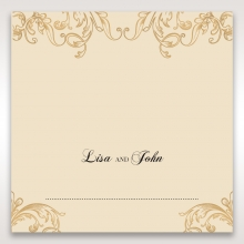 Golden Charisma wedding place card stationery design