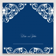 Jewelled Navy Half Pocket reception place card design