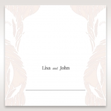 Laser cut Peacock Feather reception place card stationery design