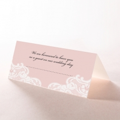 White Lace Drop wedding venue place card stationery