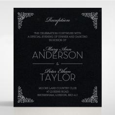 Black on Black Victorian Luxe with foil reception invitation card design