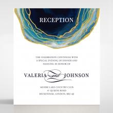 Blue Aurora wedding stationery reception card