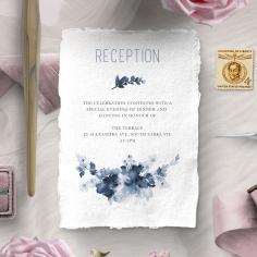 Blue Wonderland reception enclosure stationery invite card