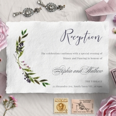 Country Charm reception stationery invite card
