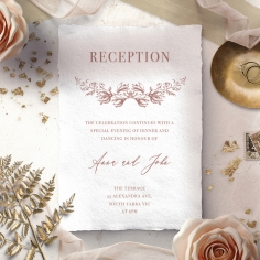 Fragrant Romance reception invitation card