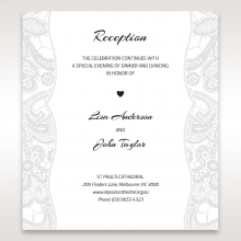 Luxurious Embossing with White Bow wedding reception card design