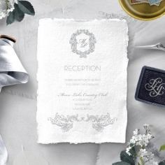 Modern Monogram wedding stationery reception invite card