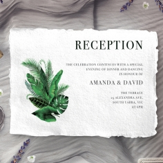 Palm Leaves wedding reception invite card