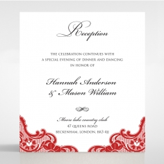 Red Lace Drop reception stationery invite