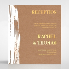 Rustic Brush Stroke  with Foil reception enclosure stationery invite card design