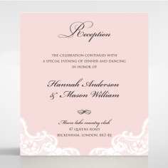 White Lace Drop reception stationery invite card