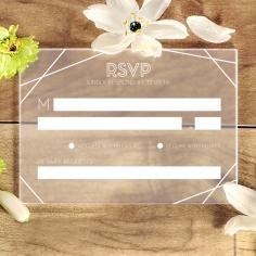 Acrylic Art Deco wedding rsvp card