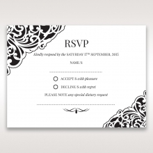 Elegant Crystal Black Lasercut Pocket rsvp wedding enclosure card