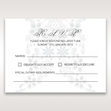 Enchanting Ivory Laser Cut Floral Wrap rsvp wedding card