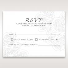 Floral Laser Cut Elegance Black rsvp wedding card