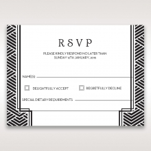 Glitzy Gatsby Foil Stamped Patterns in Gold rsvp wedding card design