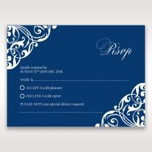 Jewelled Navy Half Pocket wedding rsvp card
