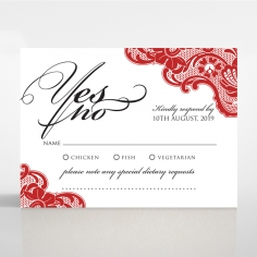 Red Lace Drop rsvp card design