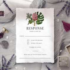 Tropical Island rsvp wedding enclosure invite design