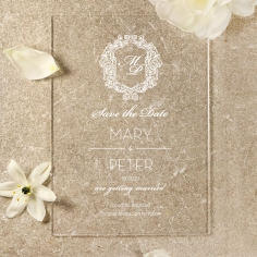 Acrylic Aristocrat save the date stationery card design