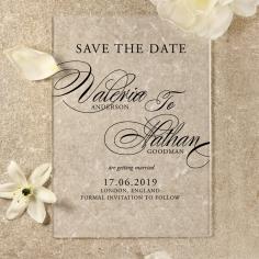 Acrylic Timeless Romance save the date invitation stationery card design
